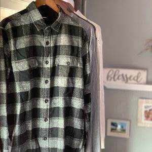 Express Black and white button up flannel